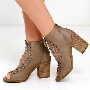 "Steve Madden ""Tempting"" Lace-Up Bootie in Tan"
